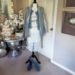 Adiva white floral lace-like overlay midi skirt, S